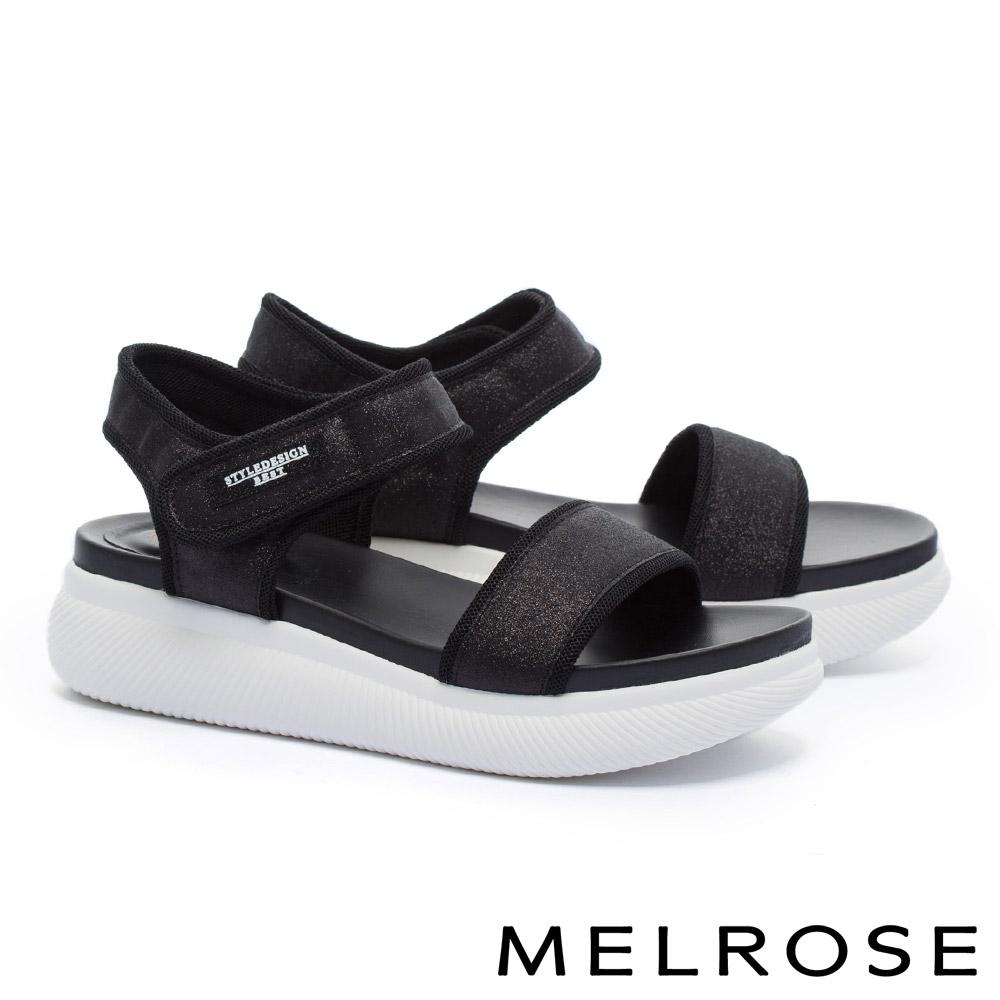 涼鞋 MELROSE 潮感帥氣金蔥寬版繫帶魔鬼氈厚底休閒涼鞋-黑