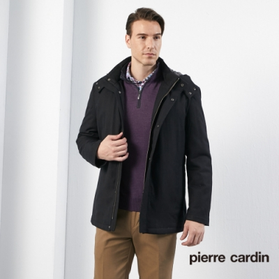 Pierre Cardin皮爾卡登 男裝 進口素材毛料掛帽長版外套-黑色(5115731-99)