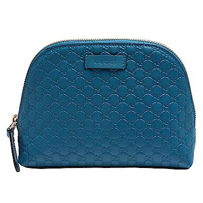 GUCCI GG Guccissima系列雙G壓紋牛皮拉鍊化妝包(藍綠色)