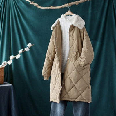 撞色毛領菱格收腰夾棉棉服中長版寬鬆加厚棉衣外套-設計所在