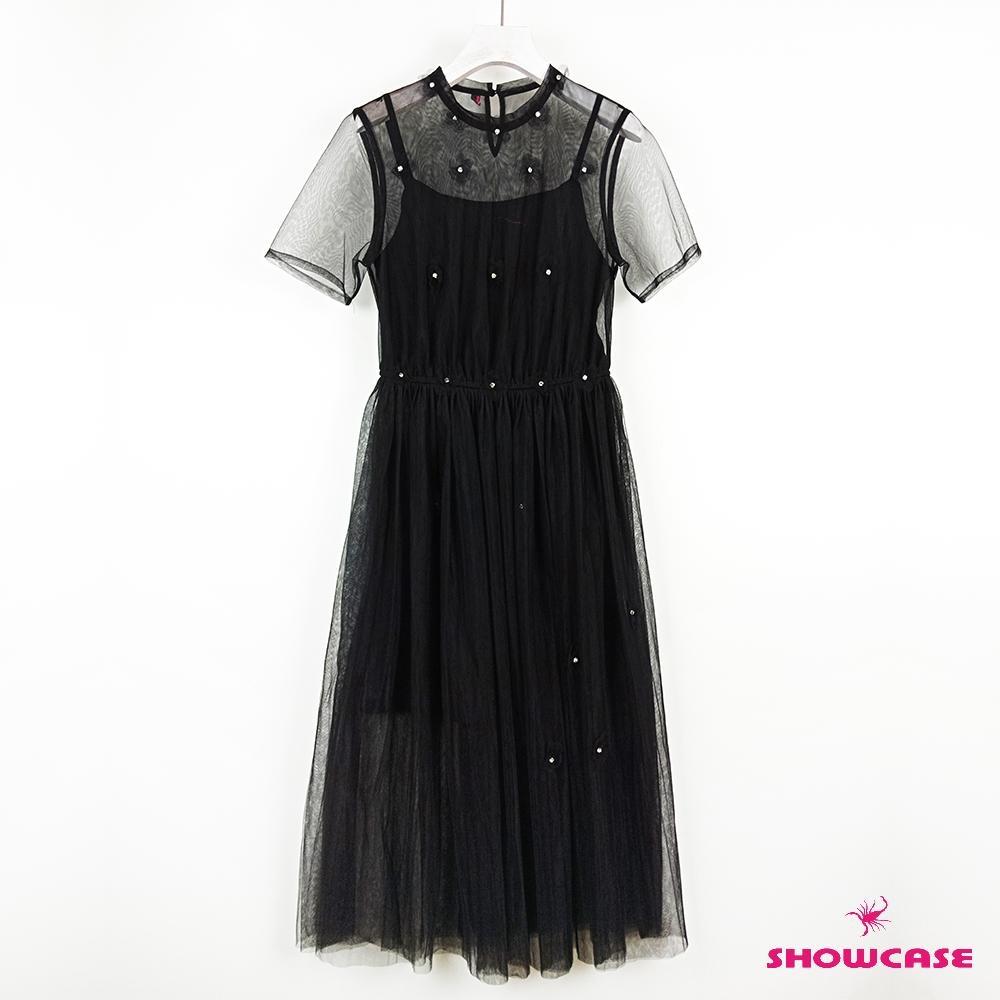 【SHOWCASE】仙氣蕾絲珍珠領短袖雙層網紗洋裝(黑/芋)