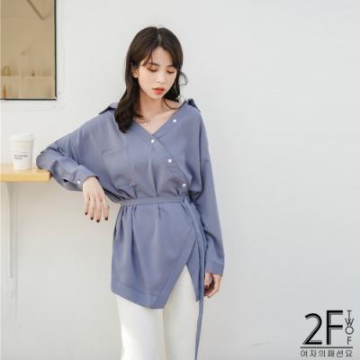 2F韓衣-不規則繫繩雪紡衫