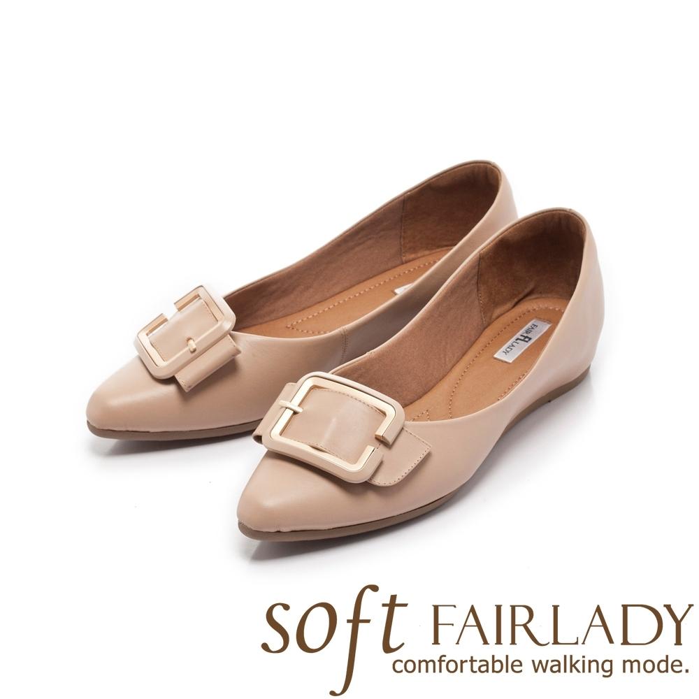 FAIR LADY Soft芯太軟 金屬勾勒釦帶尖頭平底鞋 粉