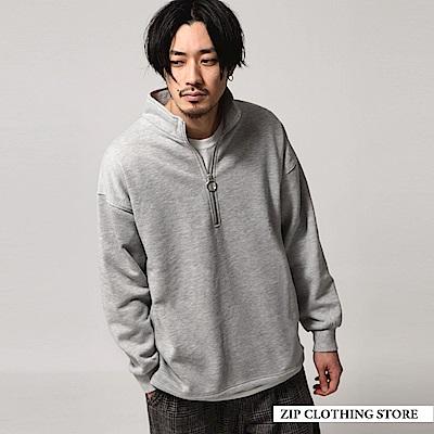 內刷毛寬版半拉鍊運動衫(3色) ZIP日本男裝