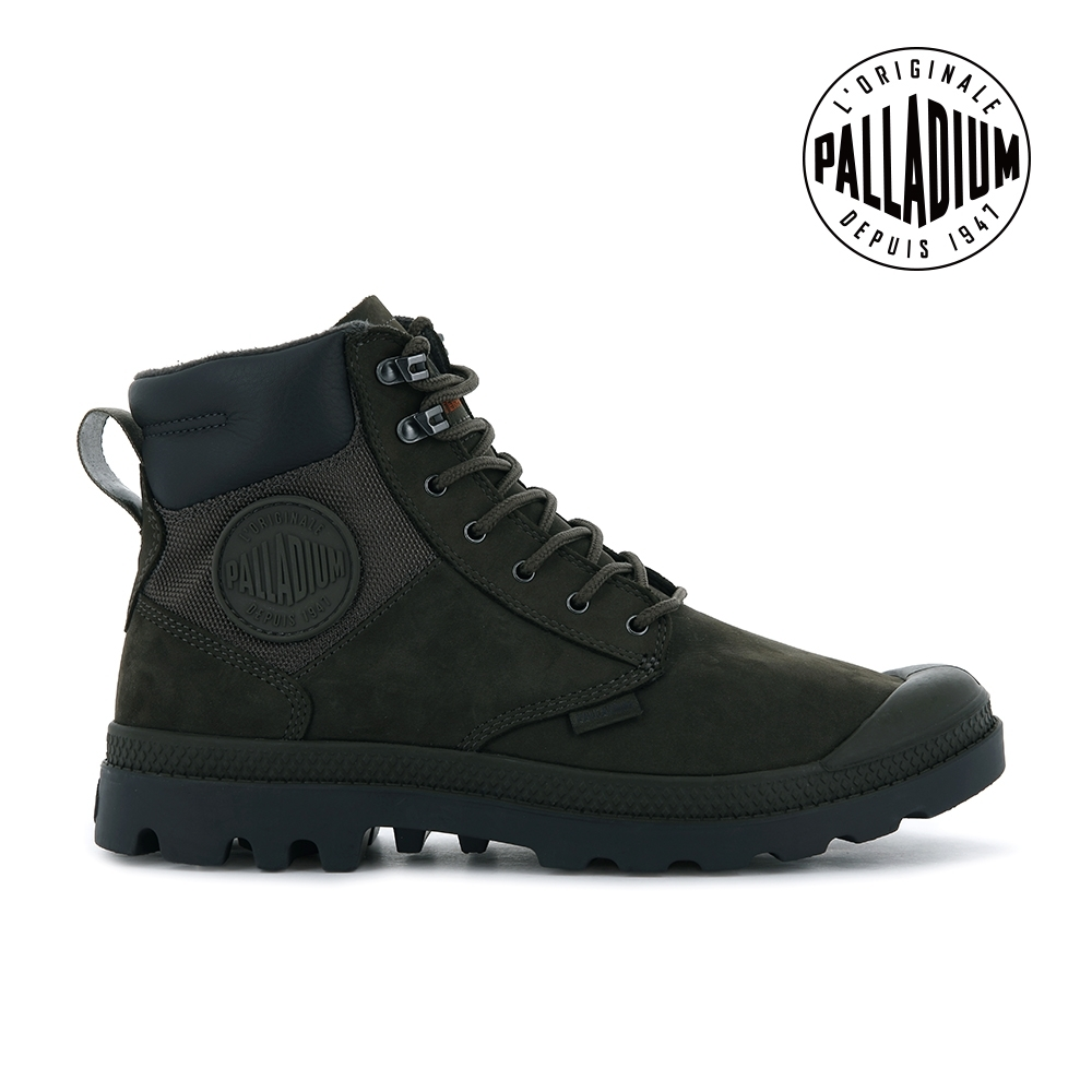 PALLADIUM PAMPA SHIELD WP+ LUX皮革防水靴-中性-深墨綠