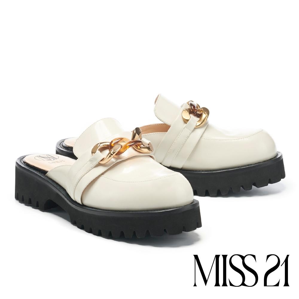 拖鞋 MISS 21 個性復古金屬鍊條穆勒坦克厚底拖鞋-米