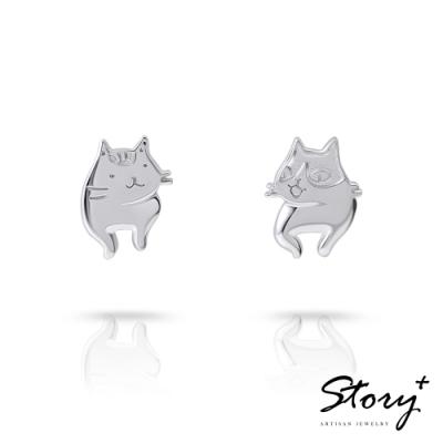 STORY故事銀飾-貓小姐系列-美好時光純銀貓耳環