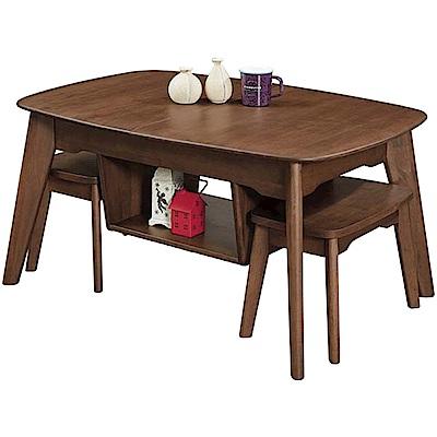 文創集 夏洛3.5尺實木伸縮大茶几(附贈椅凳二張+可拉合設計)-140x70x50cm免組