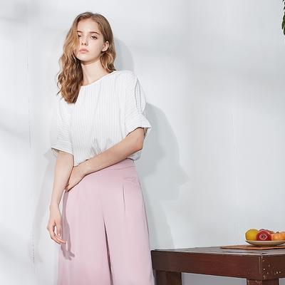 【MASTINA】珍珠配飾職場款-女短袖襯衫 女直條紋白色襯衫 深藍 白 粉 (三色/版型適中)