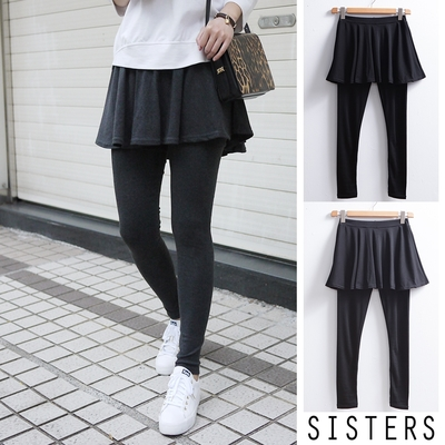 SISTERS 超顯瘦的微打折假兩件圓裙內搭褲/M-2L二色