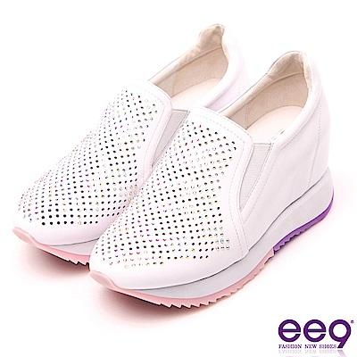 ee9 花漾年華鐳射鏤空鑲鑽內增高休閒鞋 白色
