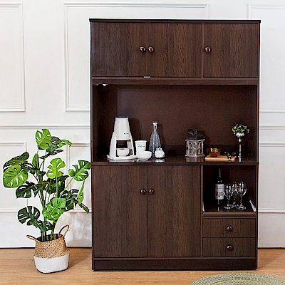 Birdie南亞塑鋼-4.2尺五門二抽塑鋼電器櫃/餐櫃(胡桃色)-126x41x190cm