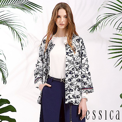 JESSICA - 花語漫舞造型針織開襟衫