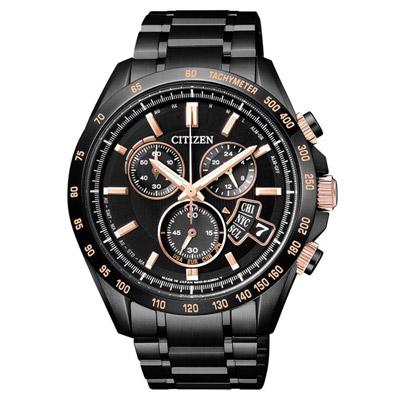 CITIZEN 焦土試煉光動能電波對計時錶(BY0135-57E)-玫瑰金x黑