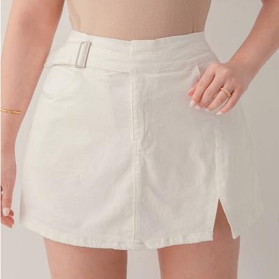 AIR SPACE PLUS 中大尺碼 側釦造型小開衩修身褲裙(白)