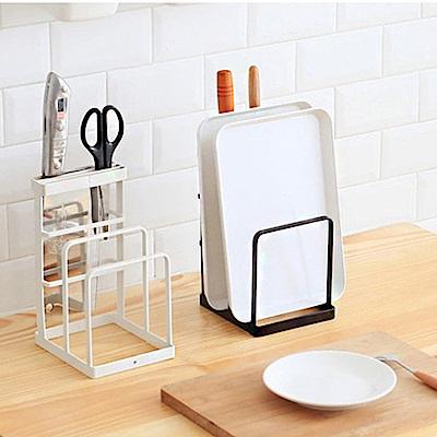 Homely Zakka 簡約工藝鐵製刀架/砧板架盤架/置物架(白色)