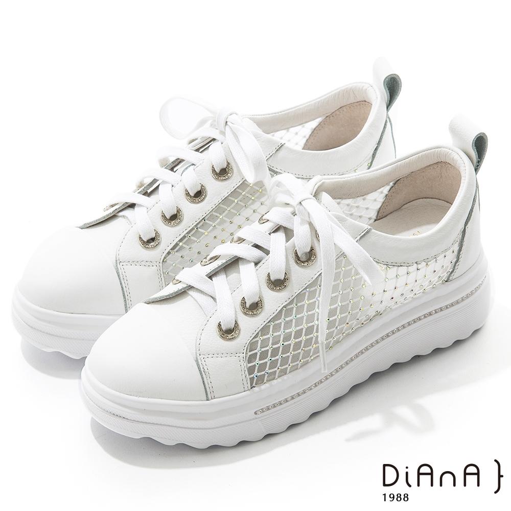 DIANA 5.5cm 質感牛皮水鑽縷網格綁帶厚底休閒鞋-甜美俏皮-白
