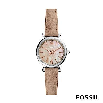 FOSSIL CARLIE MINI 沙色皮革女錶 28mm ES4530