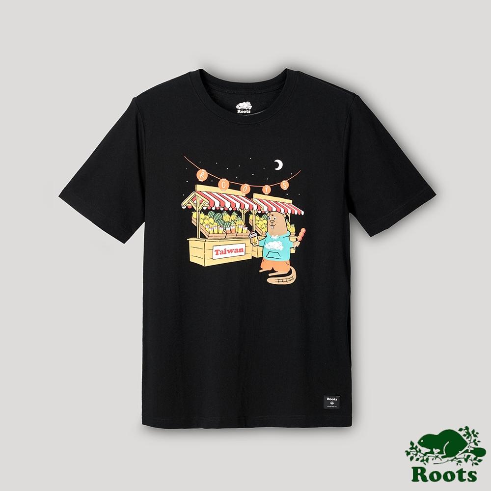 Roots男裝-台灣日系列 海狸逛夜市短袖T恤-黑色