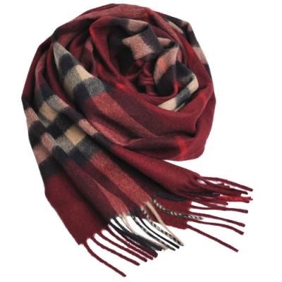 BURBERRY 經典大格紋喀什米爾羊毛圍巾(酒紅系/168x30)