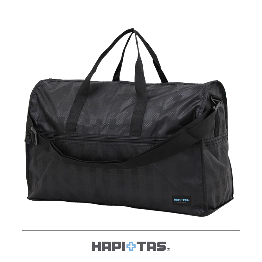 日本HAPI+TAS 大摺疊旅行袋 黑色格紋