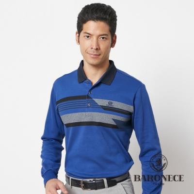 BARONECE 百諾禮士休閒商務  男裝 保暖定位印花長袖POLO衫--藍色(1186207-38)