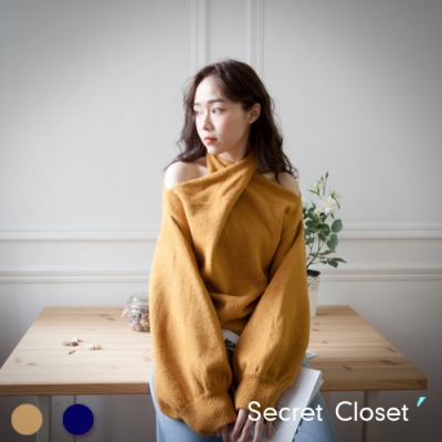 Secret Closet-交叉露肩掛脖針織上衣