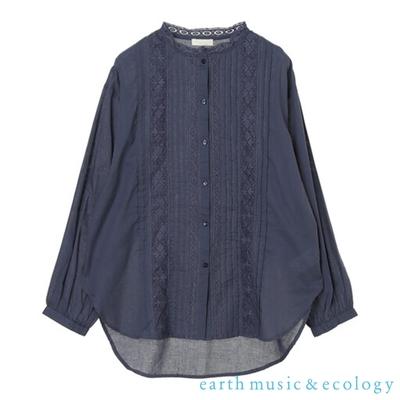 earth music 蕾絲壓摺純棉長袖襯衫