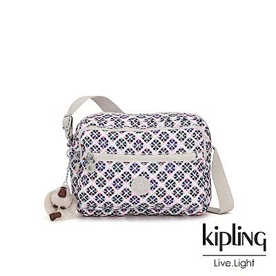 Kipling 復古花磚拉鍊側背包-DEENA