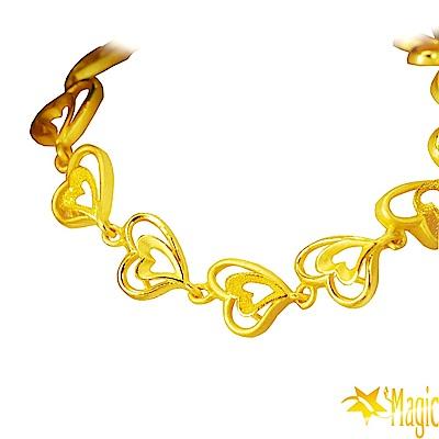 Magic魔法金-Love黃金手鍊(約3.5錢)(約寬0.8cm約長17cm)