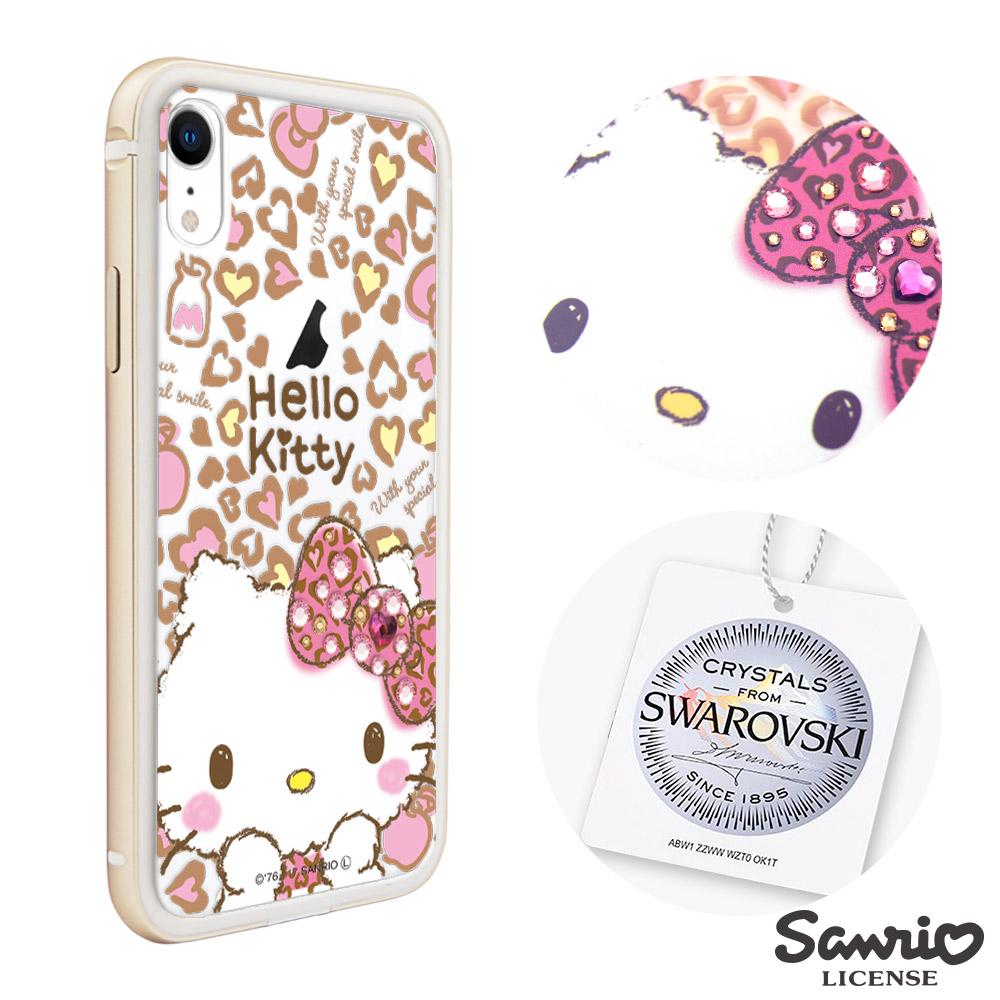 三麗鷗 Kitty iPhone XR 6.1吋施華彩鑽鋁合金屬框手機殼-豹紋凱蒂