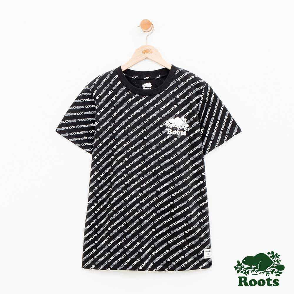 女裝Roots 派尼頓滿版斜LOGO短袖T恤-黑