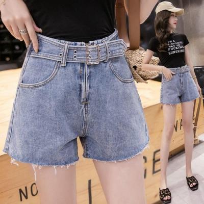 假皮帶遮大腿鬚鬚下擺顯瘦牛仔短褲S-XL-WHATDAY