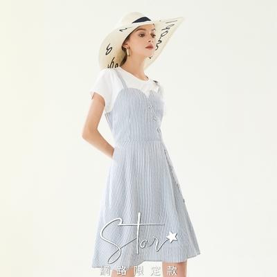 SO NICE假兩件海軍風條紋吊帶洋裝