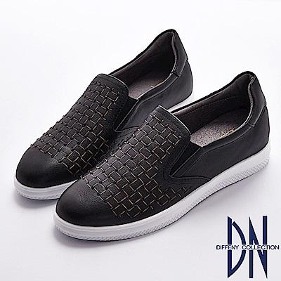 DN 知性經典 舒適真皮水鑽點綴幾何休閒鞋-黑