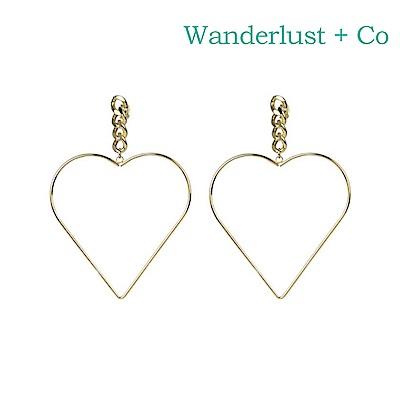 Wanderlust+Co 澳洲時尚品牌 HEARTBEAT愛戀心型耳環 金色