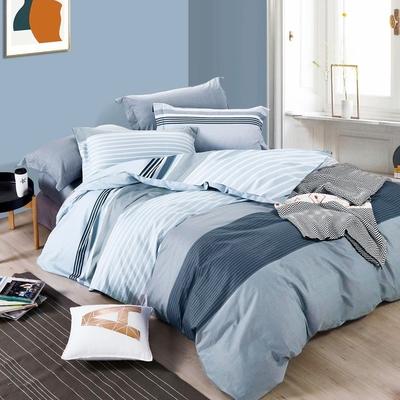 3-HO 雪紡棉 單人床包/枕套 二件組  寧靜藍