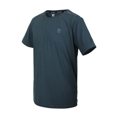 FIRESTAR 男彈性機能圓領短袖T恤-運動 慢跑 路跑 上衣 涼感 反光 D1732-16 灰綠銀