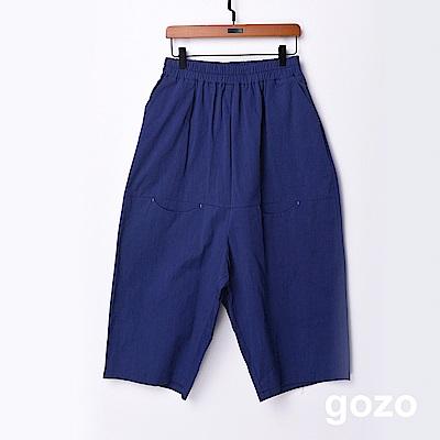 gozo 簡約素面九分低檔寬褲(藍色)