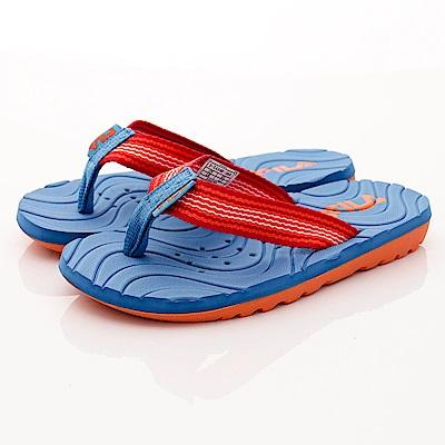 FILA頂級童鞋 輕量排水拖鞋款 FO34R-366藍橘(中大童段)C