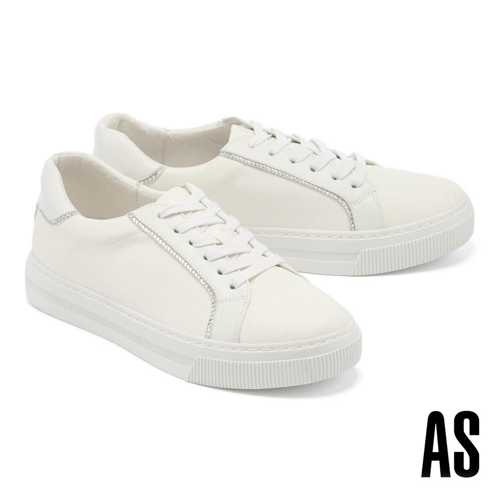 休閒鞋 AS 別緻晶鑽異材質拼接羊皮綁帶厚底休閒鞋-白