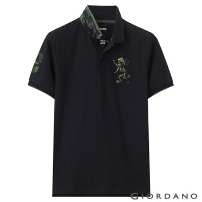 GIORDANO 男裝勝利獅王刺繡迷彩彈力萊卡POLO衫 -  12 標誌黑色