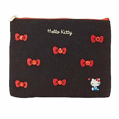 Sanrio HELLO KITTY刺繡及水鑽鑲飾扁平收納包(蝴蝶結)