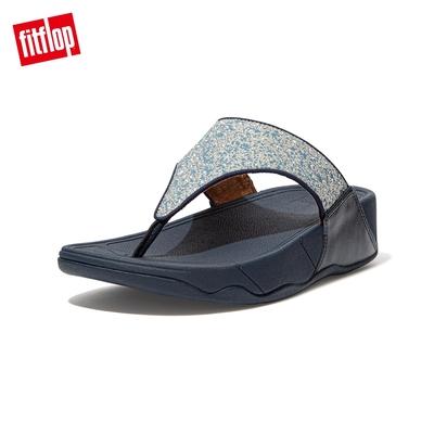 FitFlop LULU GLITTER SPLASH WIDE FIT TOE-POST SANDALS 潑墨亮粉夾腳涼鞋-女(午夜藍)