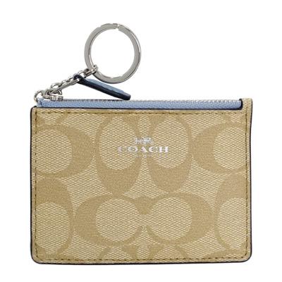 COACH淺卡C Logo藍邊真皮後卡夾鑰匙零錢包