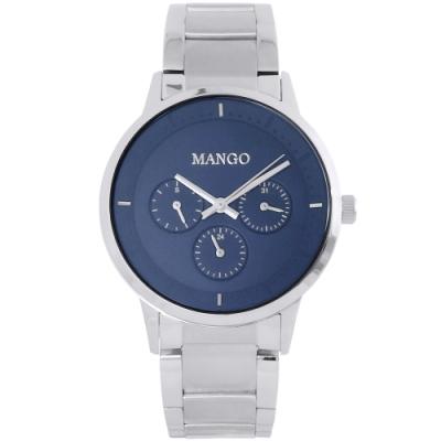 MANGO 簡約質感三眼時尚手錶-藍X銀/42mm