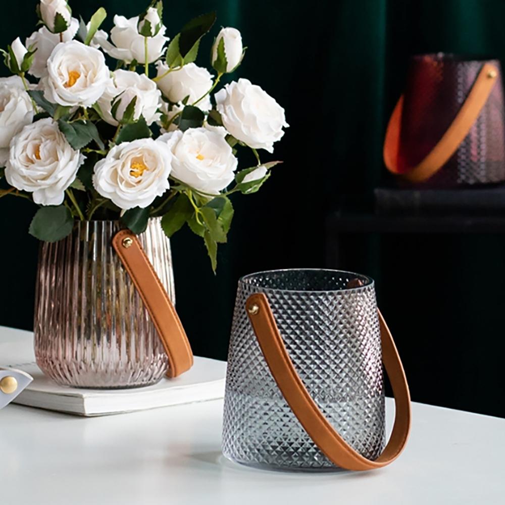 【Meric Garden】現代北歐ins輕奢皮革手提玻璃花瓶/收納罐_小