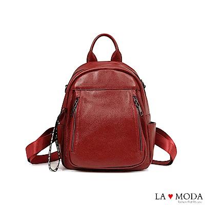 La Moda質感爆表~全真皮2WAY肩背後背包(紅)