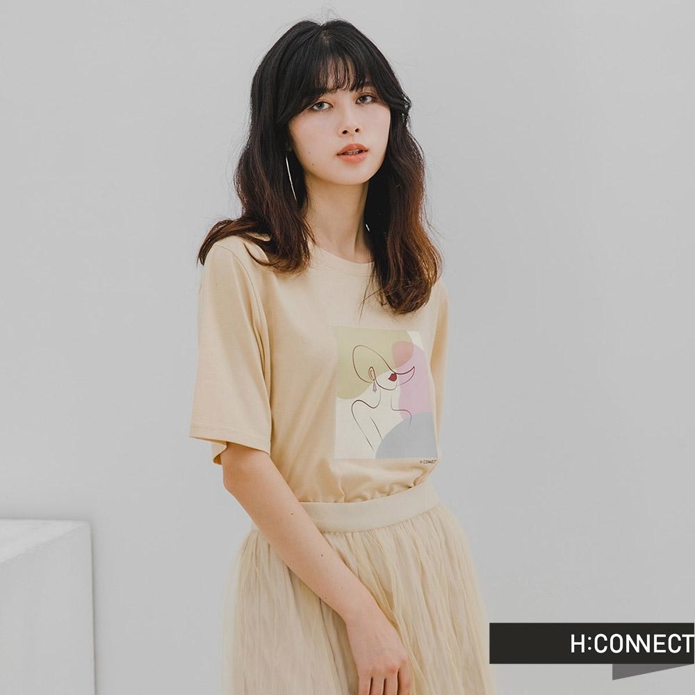 H-CONNECT 韓國品牌 女裝-圓領色塊拼接T-Shirt-米色