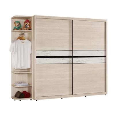 文創集 菲莉 現代7.4尺多功能推門衣櫃/收納櫃組合(衣櫃+側邊櫃)-222x60x202cm免組
